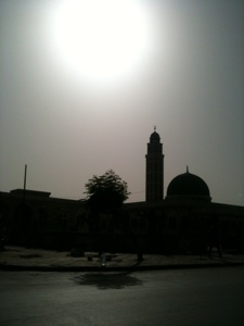 A mosque in the late afternoon sun.