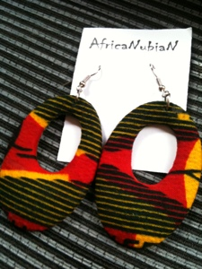 New African print earrings.