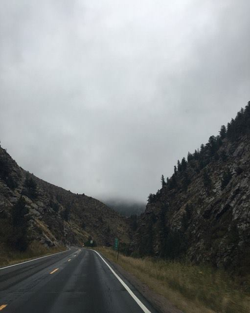 We drove down the foggy mountain canyon for our daily appointment. It was still closer than Cheyenne! And what a view!
